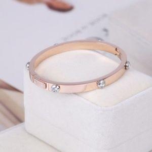 Henri Bendel Rose Gold Crystal Bangle Bracelet